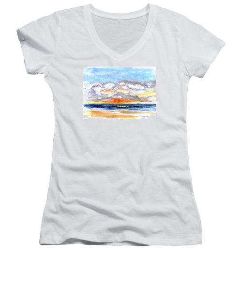 Women's V-Neck T-Shirt (Junior Cut) featuring the painting Sunset Clouds by Clara Sue Beym
