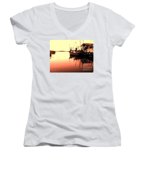 Women's V-Neck T-Shirt (Junior Cut) featuring the photograph Sunset by Janice Spivey