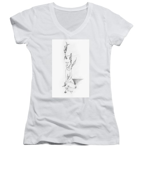 Surreal Woman With Plant And Flower Growing Through Her Women's V-Neck T-Shirt