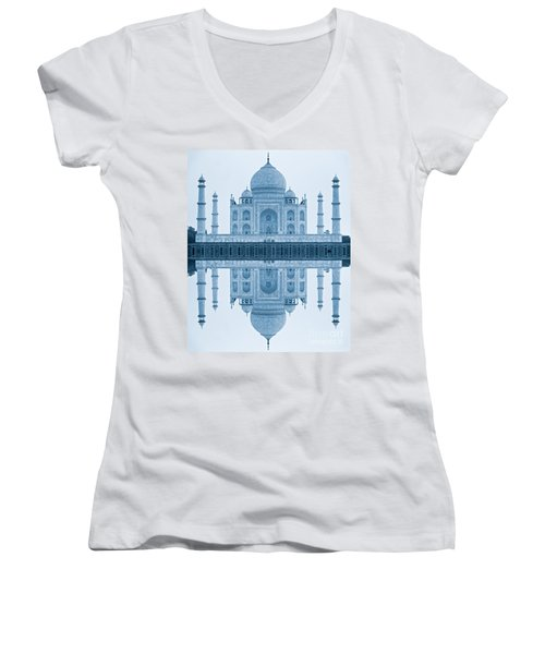 Women's V-Neck T-Shirt (Junior Cut) featuring the photograph Taj Mahal by Luciano Mortula