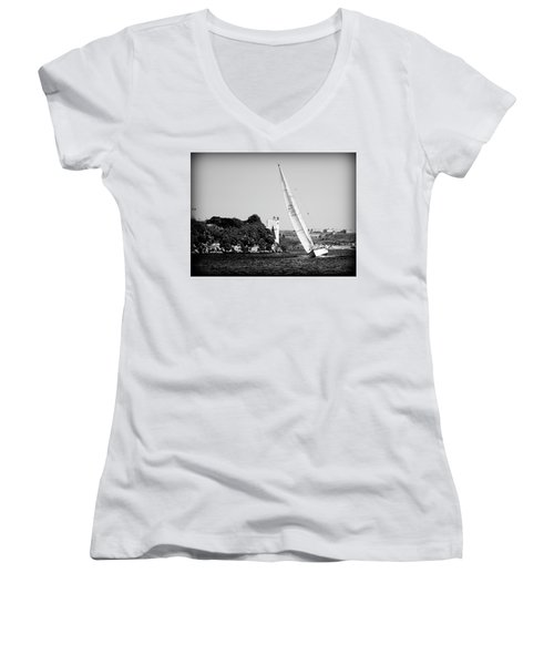 Women's V-Neck T-Shirt (Junior Cut) featuring the photograph Tall Ship Race 1 by Pedro Cardona
