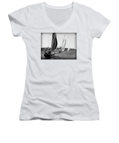 Women's V-Neck T-Shirt (Junior Cut) featuring the photograph Tall Ship Races 2 by Pedro Cardona