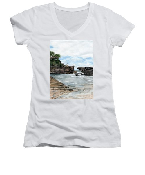 Women's V-Neck T-Shirt (Junior Cut) featuring the painting Tanah Lot Temple II Bali Indonesia by Melly Terpening