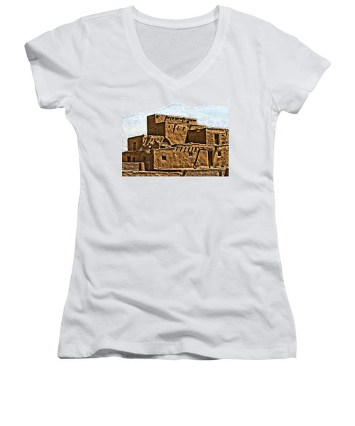 Taos Pueblo Women's V-Neck (Athletic Fit)