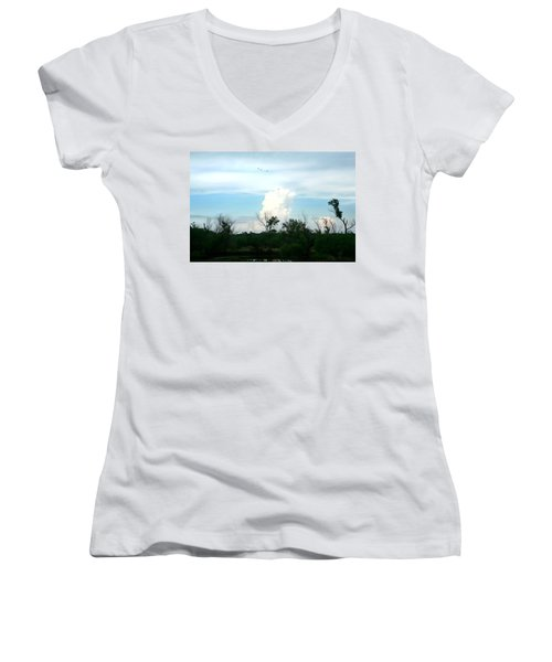 Women's V-Neck T-Shirt (Junior Cut) featuring the photograph The Back Forty by Lon Casler Bixby