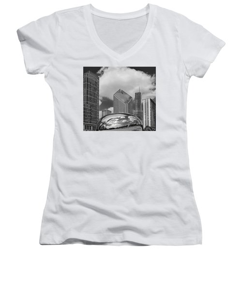The Bean Chicago Illinois Women's V-Neck T-Shirt (Junior Cut) by Dave Mills