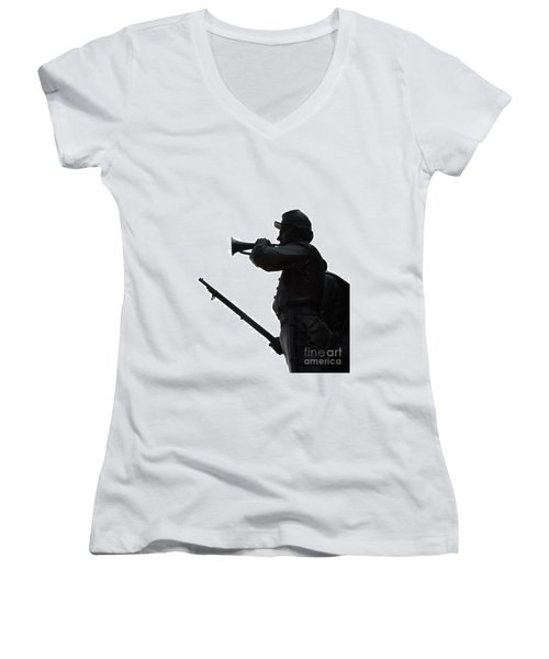Women's V-Neck T-Shirt (Junior Cut) featuring the photograph The Bugler by Cindy Manero