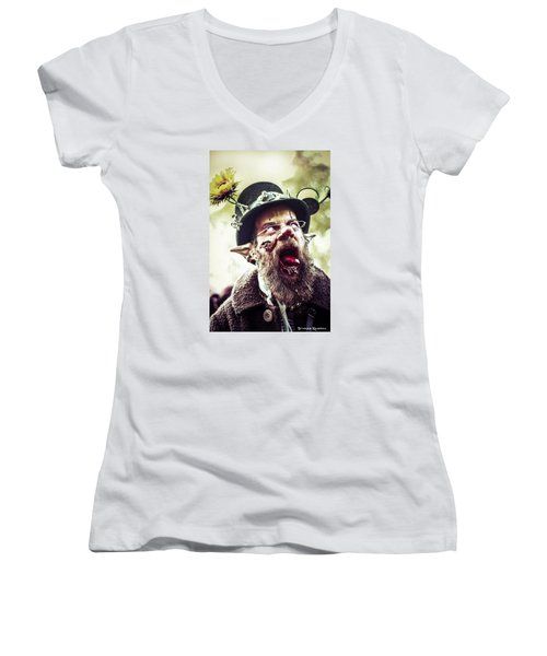 Women's V-Neck featuring the photograph The Fool Goblin by Stwayne Keubrick