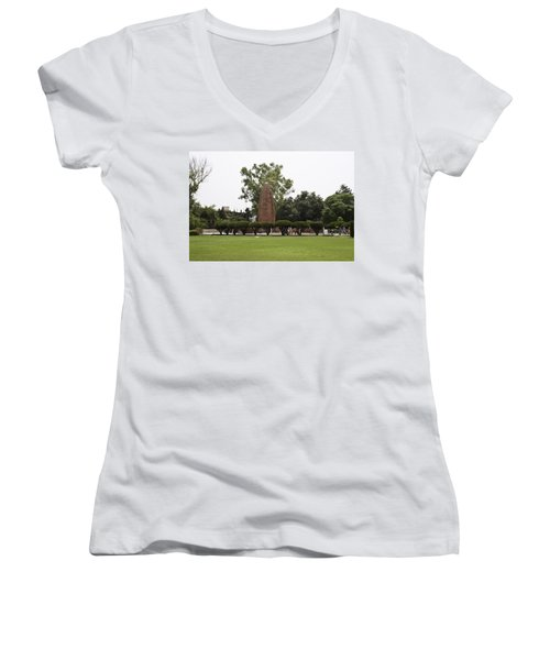 The Jallianwala Bagh Memorial In Amritsar Women's V-Neck T-Shirt (Junior Cut) by Ashish Agarwal