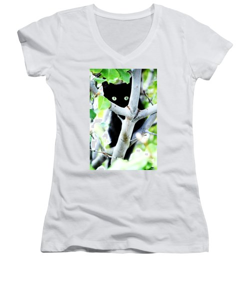 Women's V-Neck T-Shirt (Junior Cut) featuring the photograph The Little Huntress by Jessica Shelton
