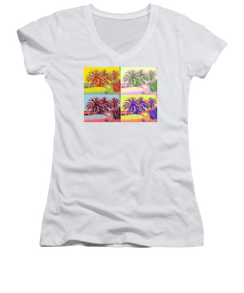 Women's V-Neck T-Shirt (Junior Cut) featuring the photograph The Loop In Pop Art by Alice Gipson