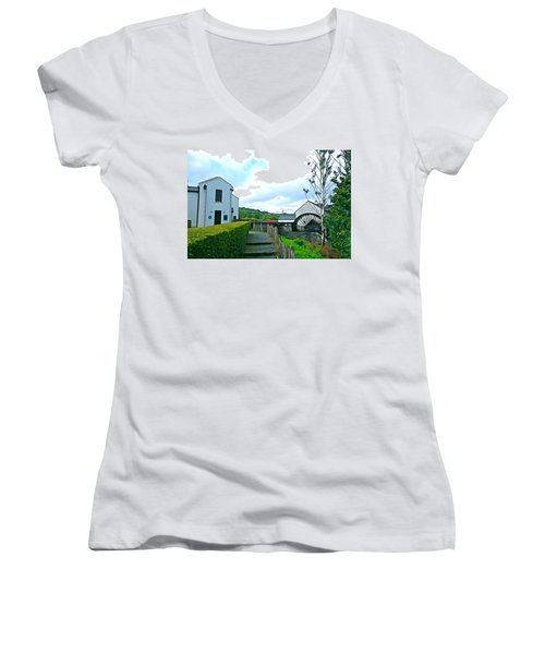 Women's V-Neck T-Shirt (Junior Cut) featuring the photograph The Mill by Charlie and Norma Brock