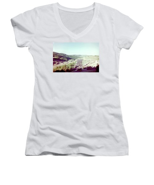 Women's V-Neck T-Shirt (Junior Cut) featuring the photograph The Mine by Bonfire Photography