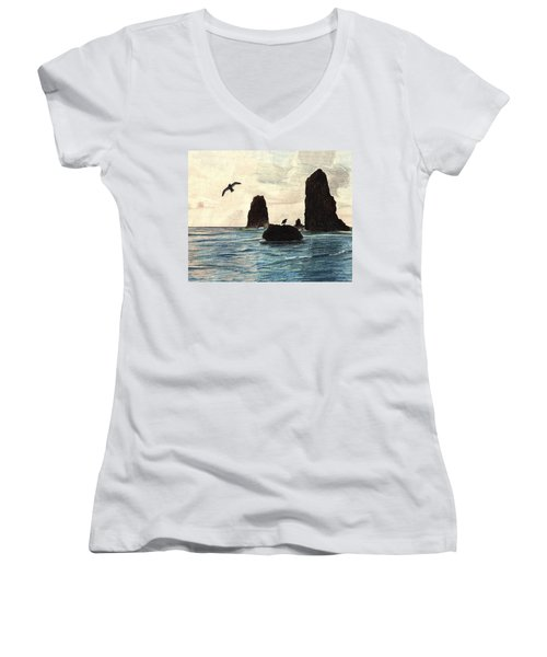 Women's V-Neck T-Shirt (Junior Cut) featuring the drawing The Needles by Wendy McKennon