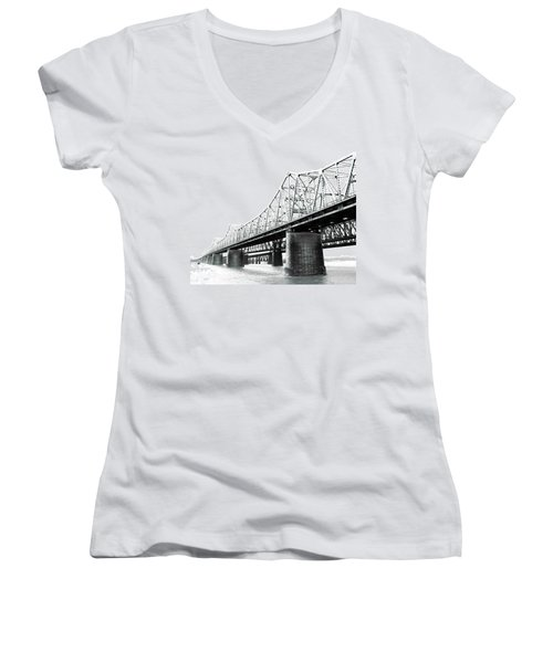 Women's V-Neck T-Shirt (Junior Cut) featuring the photograph The Old Bridges At Memphis by Lizi Beard-Ward
