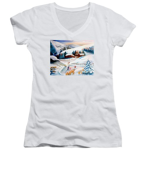 The Pond In Winter Women's V-Neck T-Shirt (Junior Cut) by Renate Nadi Wesley