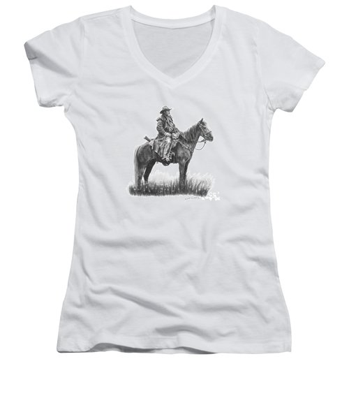 Women's V-Neck T-Shirt (Junior Cut) featuring the drawing the Quest by Marianne NANA Betts