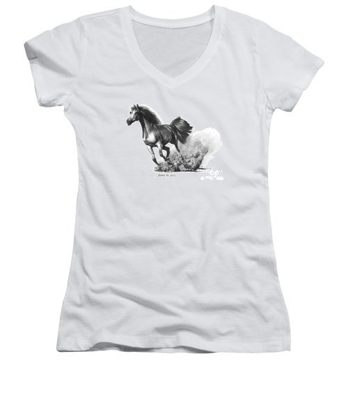 Women's V-Neck T-Shirt (Junior Cut) featuring the drawing the Race is on  by Marianne NANA Betts