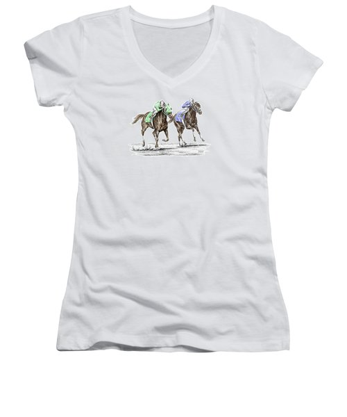 The Stretch - Tb Horse Racing Print Color Tinted Women's V-Neck (Athletic Fit)
