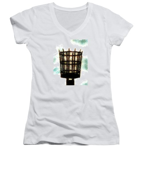Women's V-Neck T-Shirt (Junior Cut) featuring the digital art The Viking Flame  by Steve Taylor