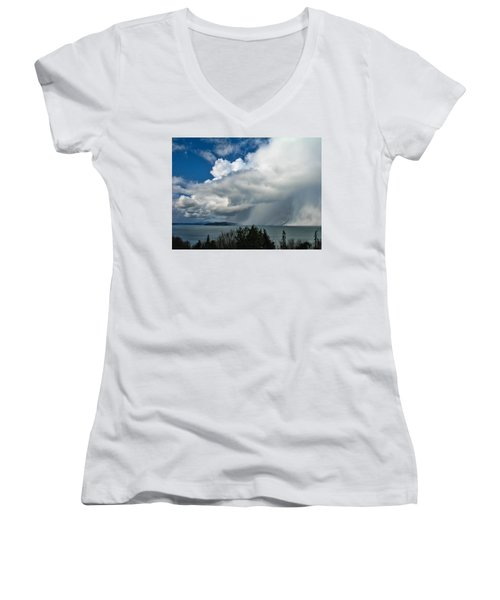 Women's V-Neck T-Shirt (Junior Cut) featuring the photograph The Wall by David Gleeson