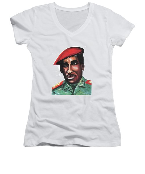 Thomas Sankara Women's V-Neck T-Shirt (Junior Cut) by Emmanuel Baliyanga