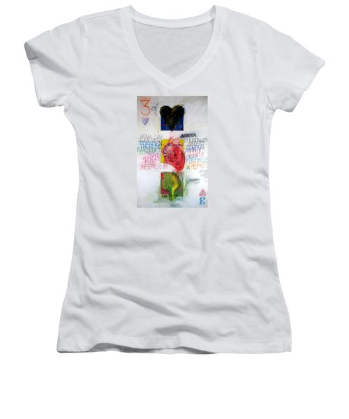 Three Of Hearts 32-52 Women's V-Neck T-Shirt (Junior Cut) by Cliff Spohn