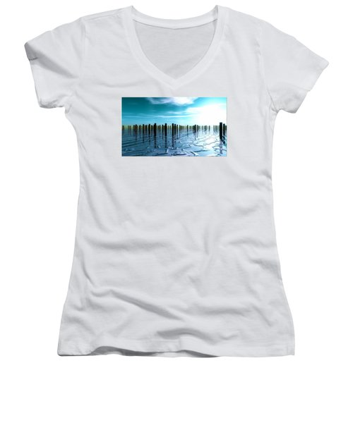 Tide Is Out... Women's V-Neck T-Shirt (Junior Cut) by Tim Fillingim