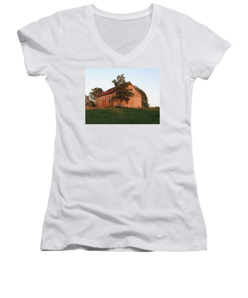 Tobacco Barn II In Color Women's V-Neck T-Shirt (Junior Cut)
