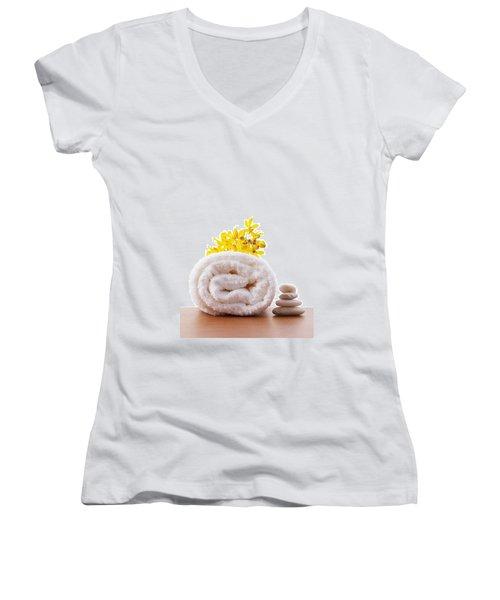 Towel Roll Women's V-Neck T-Shirt (Junior Cut) by Atiketta Sangasaeng