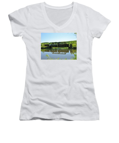 Women's V-Neck T-Shirt (Junior Cut) featuring the photograph Train And Trestle by Sherman Perry