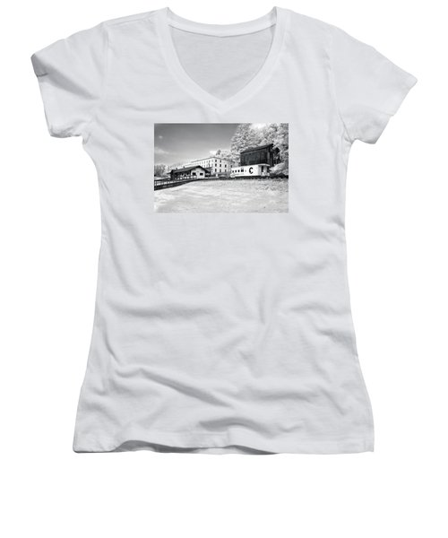 Women's V-Neck T-Shirt (Junior Cut) featuring the photograph Train Depot by Mary Almond