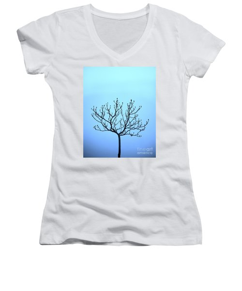 Tree With The Blues Women's V-Neck (Athletic Fit)