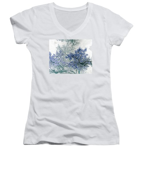 Trees Above Women's V-Neck T-Shirt (Junior Cut) by Rebecca Margraf