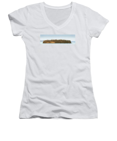 Trees Covering An Island On Lake Women's V-Neck T-Shirt (Junior Cut) by Susan Dykstra