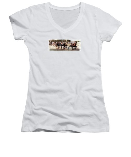 Women's V-Neck T-Shirt (Junior Cut) featuring the photograph Trotting 3 by Pedro Cardona