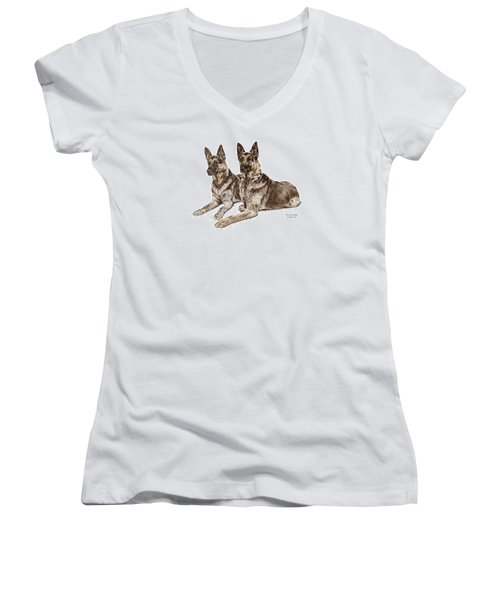 Two Of A Kind - German Shepherd Dogs Print Color Tinted Women's V-Neck T-Shirt (Junior Cut) by Kelli Swan