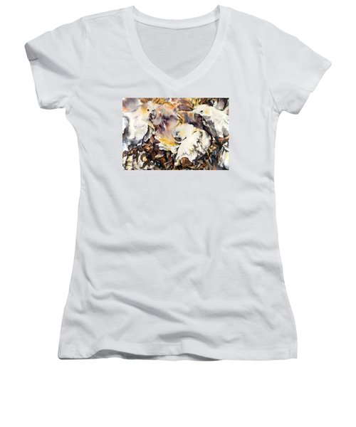 Two's Company Women's V-Neck T-Shirt (Junior Cut) by Rae Andrews