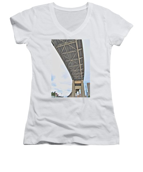 Women's V-Neck T-Shirt (Junior Cut) featuring the photograph Under The Skyway by Michael Frank Jr