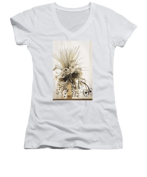 Vase With Flowers On A Window Table Women's V-Neck (Athletic Fit)
