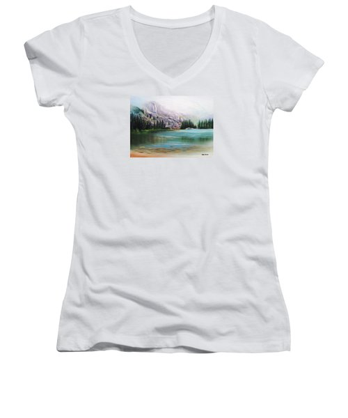 Veil Over Elk Lake Women's V-Neck T-Shirt