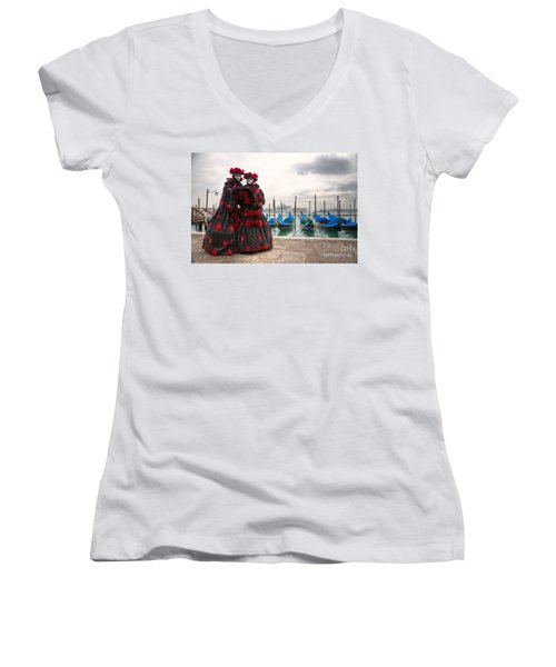 Women's V-Neck T-Shirt (Junior Cut) featuring the photograph Venice Carnival Mask by Luciano Mortula