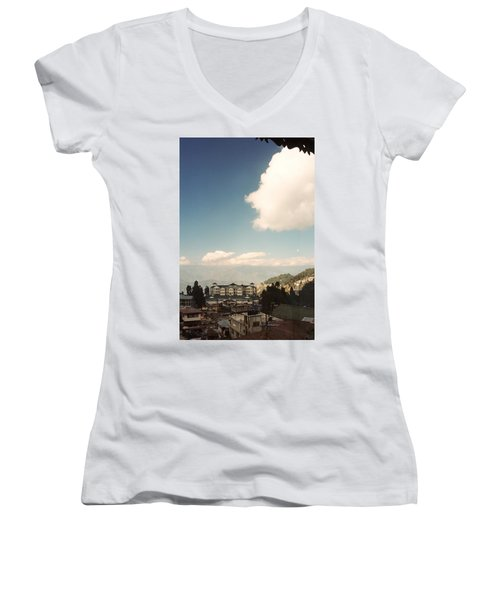 Women's V-Neck T-Shirt (Junior Cut) featuring the photograph View From The Window by Fotosas Photography