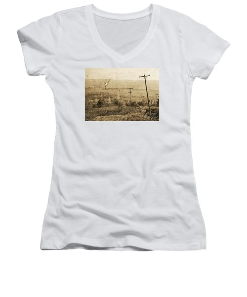 Vintage View Of Ontario Fields Women's V-Neck