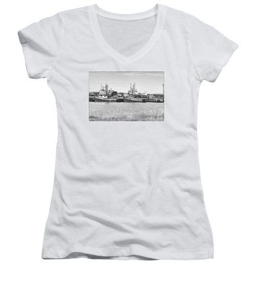 Women's V-Neck T-Shirt (Junior Cut) featuring the photograph Waiting by Eunice Gibb