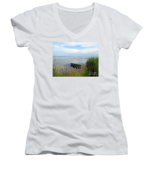 Women's V-Neck T-Shirt featuring the photograph Waiting For The Nightshift by Ausra Huntington nee Paulauskaite