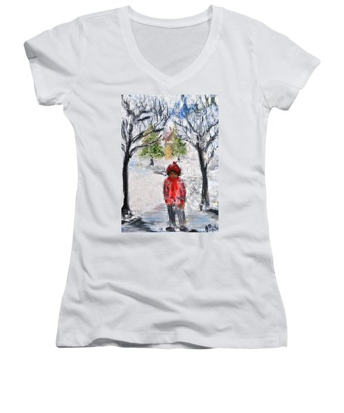 Women's V-Neck T-Shirt (Junior Cut) featuring the painting Walking Alone by Evelina Popilian