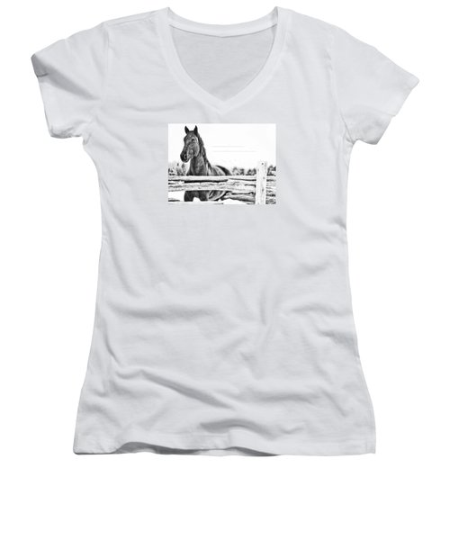 Women's V-Neck T-Shirt (Junior Cut) featuring the photograph Watching Close by Traci Cottingham