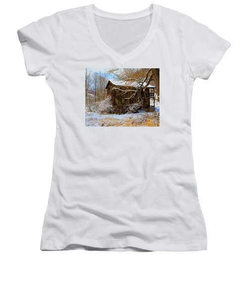 West Virginia Winter Women's V-Neck (Athletic Fit)