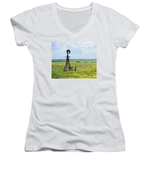 Western Kansas Wooden Windmill  Women's V-Neck (Athletic Fit)
